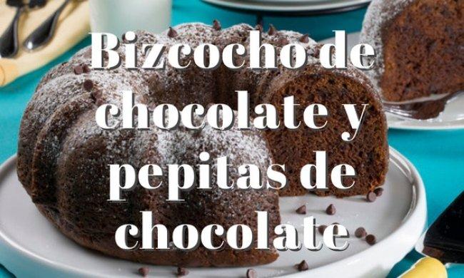 Bizcocho de chocolate y pepitas de chocolate