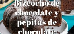 Bizcocho de chocolate y pepitas de chocolate
